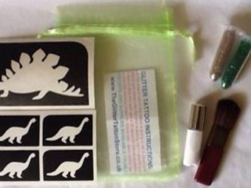 BOYS DINOSAUR GLITTER TATTOO KIT - GLUE/STENCILS/GREEN & GOLD GLITTER/BRUSH SET